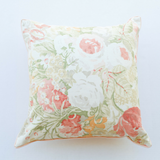 coral floral linen pillow satin back fron tview