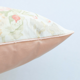 coral floral linen pillow satin back side view