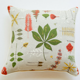 MCM Eames gray botanical barkcloth pillow front view