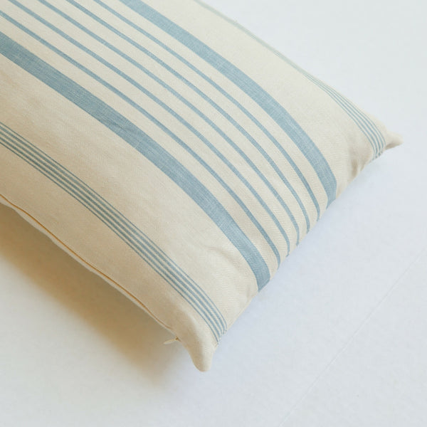 french ticking stripe blue linen pillow front