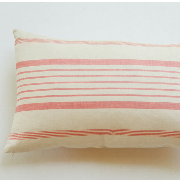french ticking stripe coral linen pillow front view