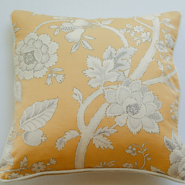 jacobean floral linen pillow front view