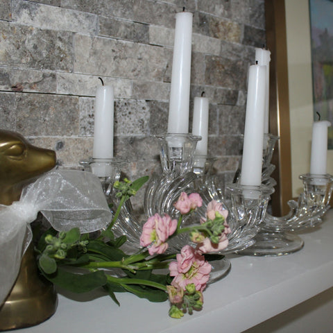 Clear Glass Tri-Candle Holder