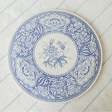 blue spode cheese or cake plate front view