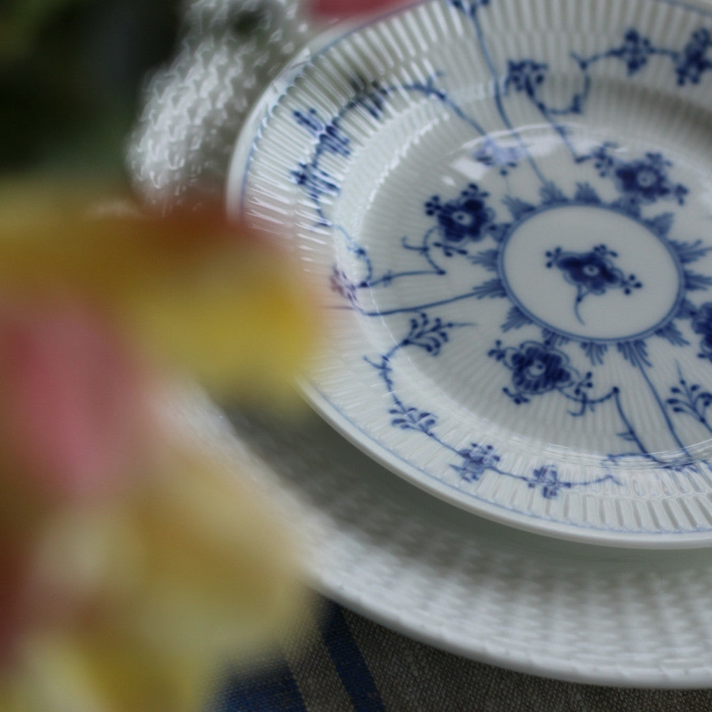 Blue Fluted Plain Handpainted Dessert/Salad Plates, Set of Six
