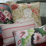 Brown-Cream-Pink Tropical Floral Vintage Lumbar Pillow