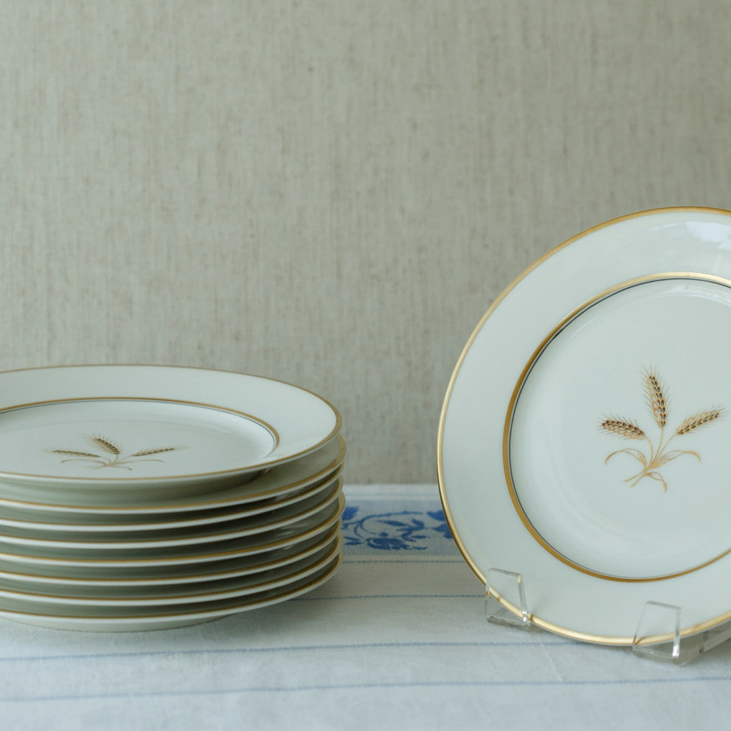 wheat sheaf dessert salad plates set of nine