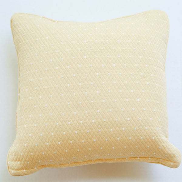 yellow dot cotton matelasse square pillow front view