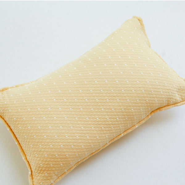 yellow dot cotton matelasse lumbar pillow front view