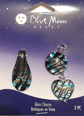 3 GLASS CHARMS Heart Teardrop Round Blue Moon Jewelry Bracelet Necklace