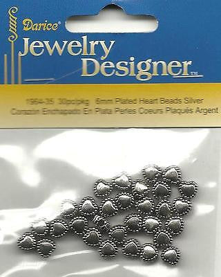 30 HEART BEADS Silver with Beaded edge Spacer Jewelry Necklace Crafts
