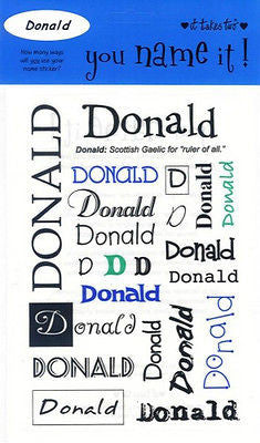 DONALD Name Stickers Scrapbooking Boys Personalized