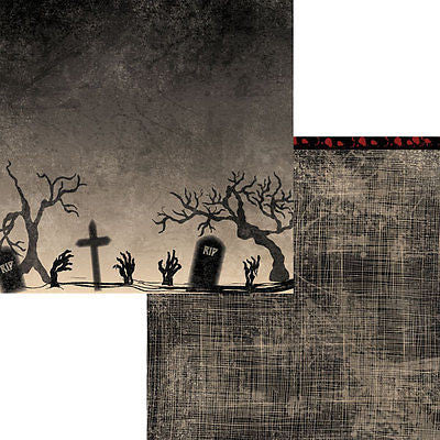 2 12x12 HALLOWED GROUND Zombie Paper HALLOWEEN Scrapbooking Kids Crafts Moxxie