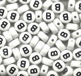 Pack of 50 White Alphabet Beads, Choose any Letter A-Z, Heart, Blank 7mm Jewelry
