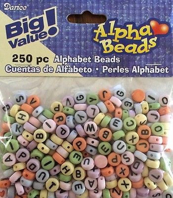 250 PASTEL ALPHABET Beads Letter Heart Spacers Jewelry 7mm Round Kids Crafts