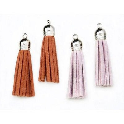 4 Tassels Brown & Beige Suede 2 inch for Graduation, Bookmarks, Kids Crafts