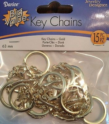 15 KEY CHAINS Gold Color Steel Brass Plated 63mm Jewelry Kids Crafts