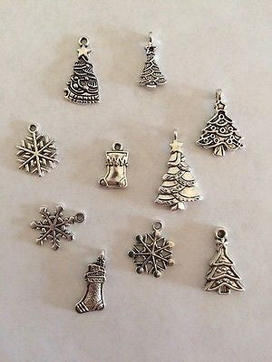 10 Christmas Tree Snowflake Stocking Charms Holiday Jewelry Kids Crafts Necklace
