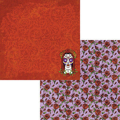2 12x12 Rose Adorned Paper Sugar Skull Day of the Dead Scrapbooking Moxxie