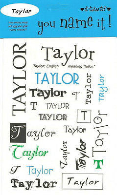 TAYLOR Name Stickers Scrapbooking Boys Personalized