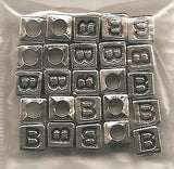 25 Silver VERTICAL Cube Alphabet Beads, Choose any Letter A-Z 6mm Jewelry Crafts