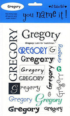 GREGORY Name Stickers Scrapbooking Boys Personalized