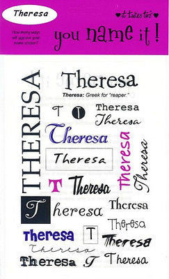 THERESA Name Stickers Scrapbooking Girls Personalized