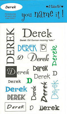 DEREK Name Stickers Scrapbooking Boys Personalized