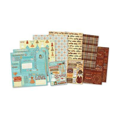 12x12 GRANDPARENTS Scrapbooking KIT Paper Stickers Grandma Grandpa