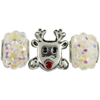 Reindeer Metal and Acrylic Beads Christmas Holiday Jewelry Kids Crafts Necklace