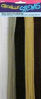 "100 Chenille Stems Pipe Cleaner 12"" long Black Brown Gray White Tan Kids Crafts"