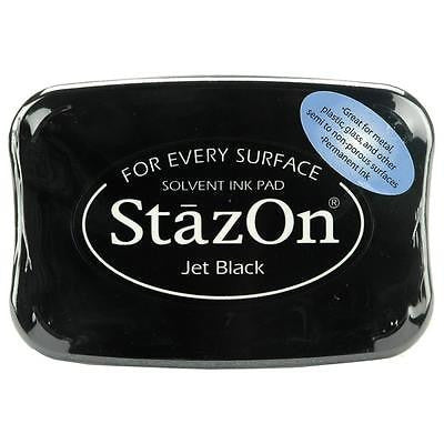 Jet Black Stazon Stamp Pad Fast Drying Solvent Ink Stamping Free Shipping