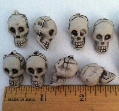 24 SKULL Beads Halloween Skeleton Head Jewelry Kids Crafts