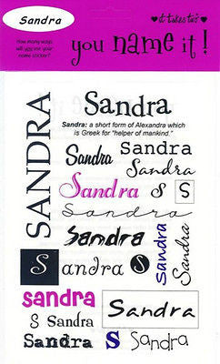 SANDRA Name Stickers Scrapbooking Girls Personalized