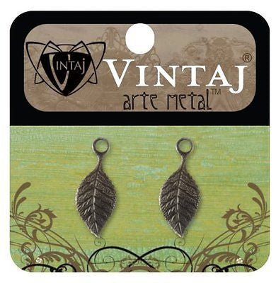 LEAF CHARMS 2 pcs Vintaj Arte Metal Delicate Pendant, 22mm Necklace NIP