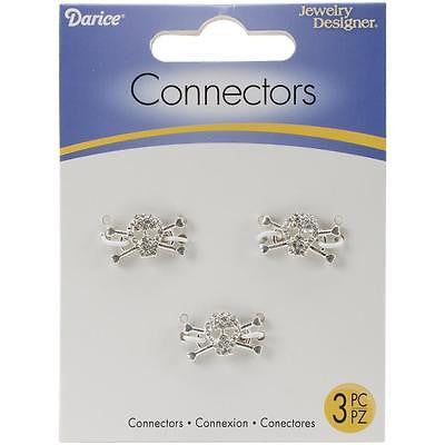 SKULL Silver Connectors 3 per pack 18mm x 10mm Jewelry Crafts Bracelet Necklace