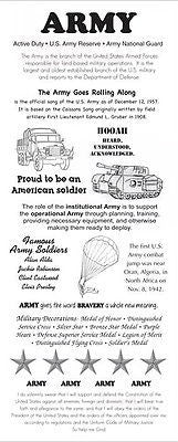 ARMY Stickers Military Info Scrapbooking Facts Reserve National Guard