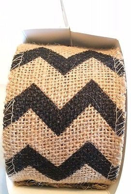 Black CHEVRON BURLAP RIBBON 2.5 inch wide 10 yards Sewn edge Handmade Wreath