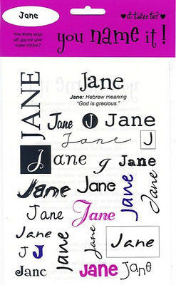 JANE Name Stickers Scrapbooking Girls Personalized