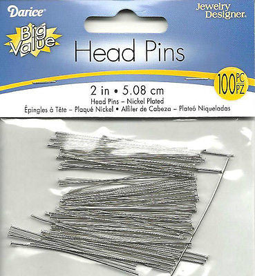 HEAD PINS 100 pcs Nickel Plated Brass 2 inch 5cm Jewelry Crafts