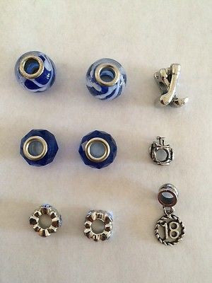 9 GOLF BEADS Glass Metal Lined Sports Kids Crafts Jewelry Necklace Charms