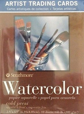 10 pk ATC WATERCOLOR Artist Trading Cards 140 lb. Strathmore Papers