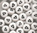 Pack of 50 White Number Beads, Choose your Number 0-9, Round 7mm Jewelry Crafts