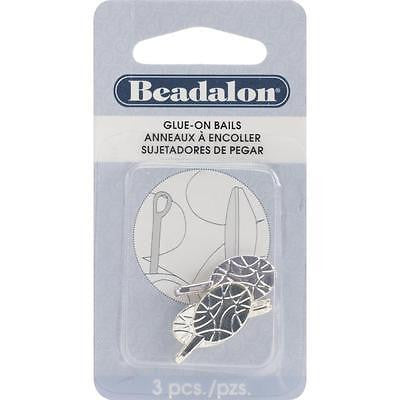 "3 Silver Bails Beadalon 10mm x 23mm or .39"" x .91"" Silver Plated Nickel Free"