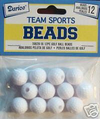 GOLF BALL BEADS 12 pc Plastic Sports Jewelry Kids Crafts Necklace School