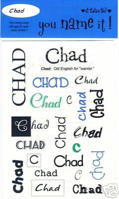 CHAD Boys Name Stickers Scrapbooking Personalized Names