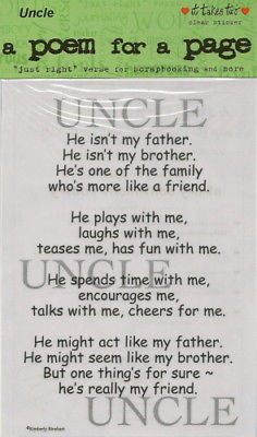 UNCLE Sticker Poem Scrapbooking Family Kids Crafts Family Relatives