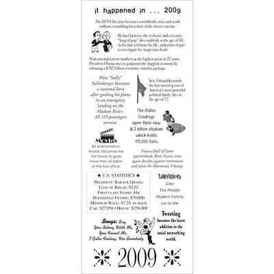 YEAR 2009 Scrapbooking Stickers Yearly Facts Family History Ancestors Heritage