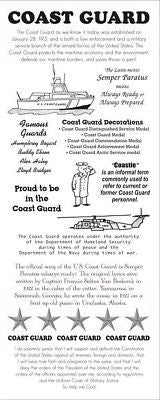 COAST GUARD Stickers Military Info Scrapbooking Facts Coastie
