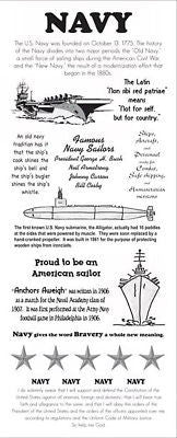 NAVY Stickers Military Info Scrapbooking Facts Sailor